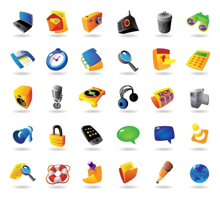 smartphone icon: Realistic colorful vector icons set for computer and website interface on white background