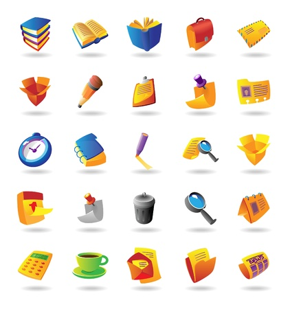 office stationery: Realistic colorful vector icons set for office and stationery on white background