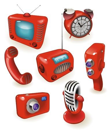broadcasting: Iconos rojos de dispositivos retro: medios de comunicaci�n, el tiempo y las comunicaciones. Ilustraci�n vectorial.