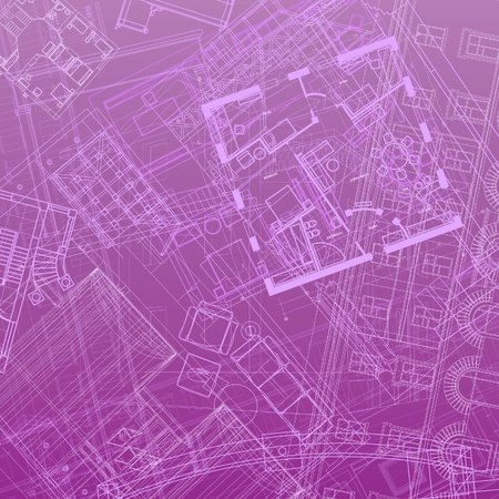 Abstract architectural background in violet colors. Vector illustration. Vector
