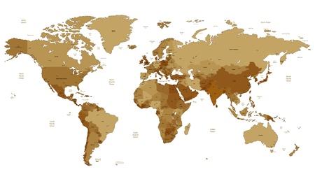지도: 갈색 세피아 색의 상세한 벡터 세계지도입니다. 이름, 마 마크 및 국가 테두리 별도 레이어에 있습니다.
