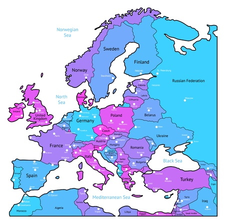 geographical locations: Europe map of blue, pink, violet colors. Names, town marks and national borders are in separate layers. Vector illustration.