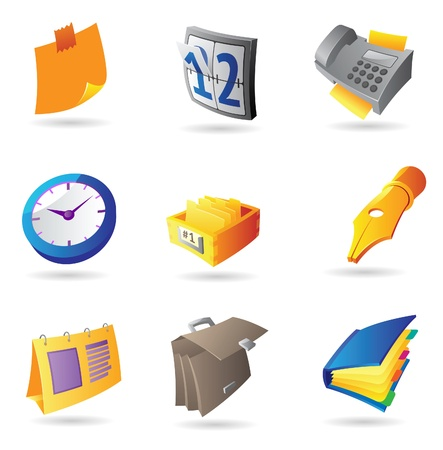 answering phone: Icons for office and stationery. Vector illustration.