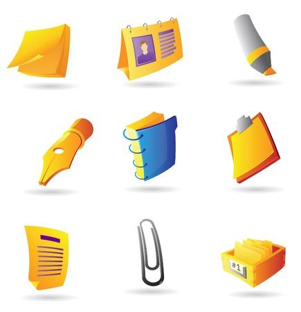 articulos oficina: Los iconos de art�culos de oficina. Ilustraci�n vectorial.
