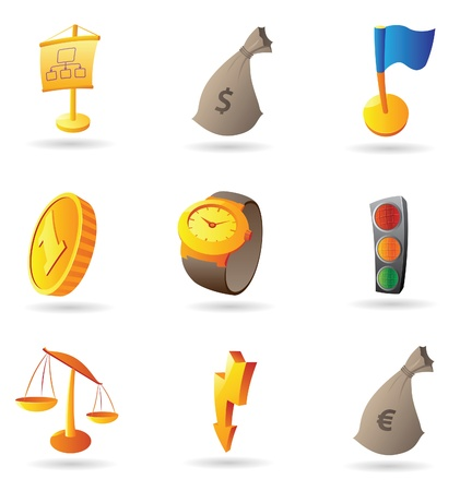 euro coin: Icons for business and finance. Vector illustration.