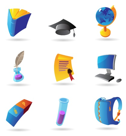 Icons for education. Vector illustration. Stock Vector - 11017246