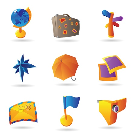 Icons for travel and leisure. Vector illustration. Vector