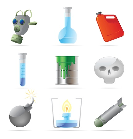 nuclear weapons: Icons for dangerous chemistry. Vector illustration. Illustration