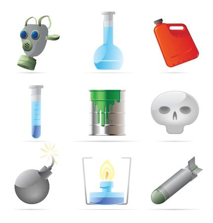 war paint: Los iconos de la qu�mica peligrosa. Ilustraci�n vectorial. Vectores