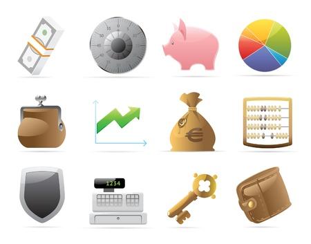 maquina registradora: Iconos para las finanzas, el dinero y la seguridad. Ilustración vectorial.