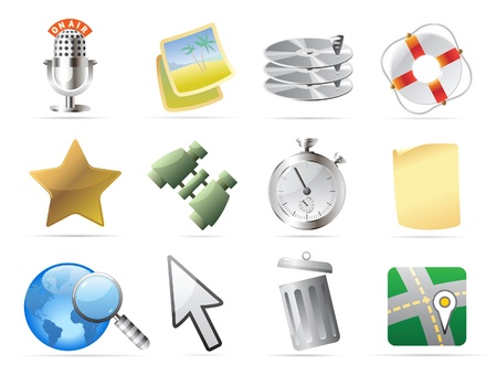 storage bin: Icons for computer and website interface. Vector illustration.