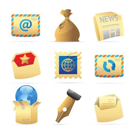 sobres de carta: Iconos de los servicios postales. Ilustración vectorial.