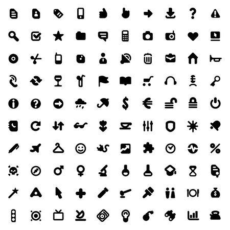 Set of one hundred icons for website interface, business designs, finance, security and leisure. Vector illustration. Stock Vector - 11017266