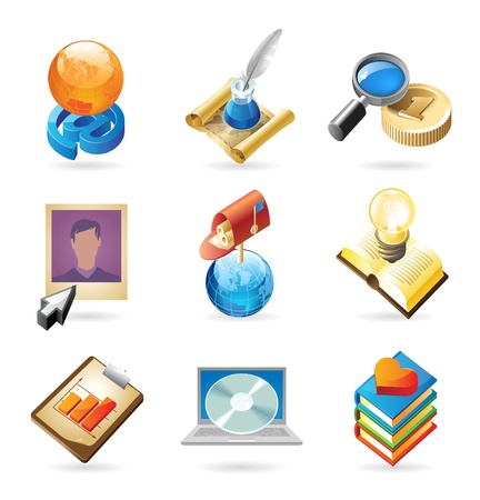 an article: Vector concept icons for web technologies. Illustrations for document, article or website. Illustration
