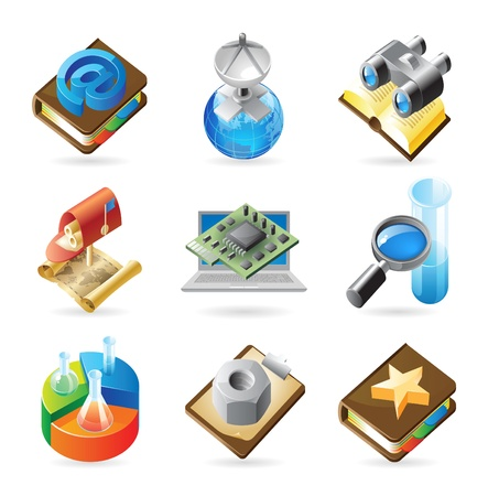 an article: Vector concept icons for web, industry and technology. Illustrations for document, article or website.