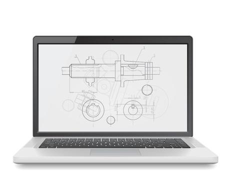 Laptop with engineering blueprint. Vector illustration for design department and heavy industry. Stock Vector - 11017284