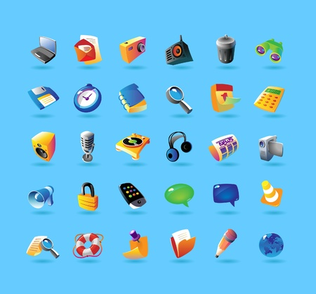 edit icon: Realistic colorful vector icons set for computer program and website interface on light blue background Illustration