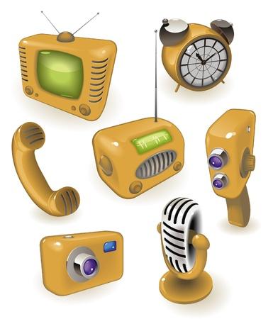 Amarillo iconos de dispositivos retro: medios de comunicación, el tiempo y las comunicaciones. Ilustración vectorial.