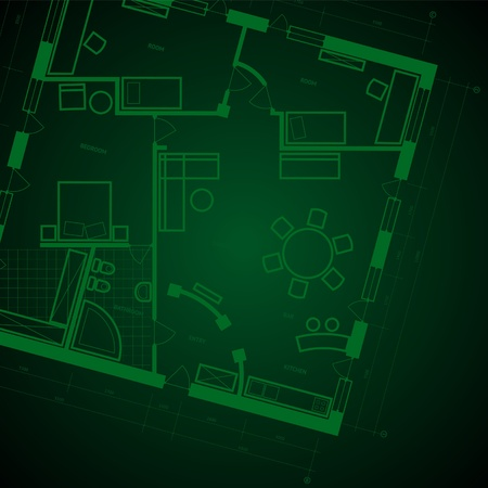 Abstract blueprint background in green colors. Vector illustration. Vector