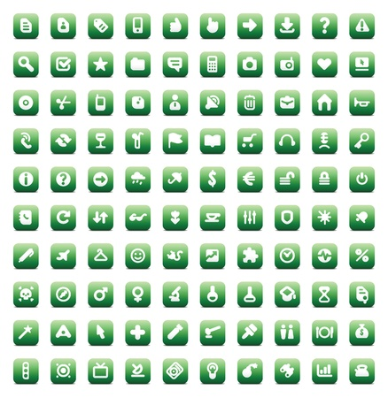 100 web, business, media and leisure icons set. Green vector buttons. Vector