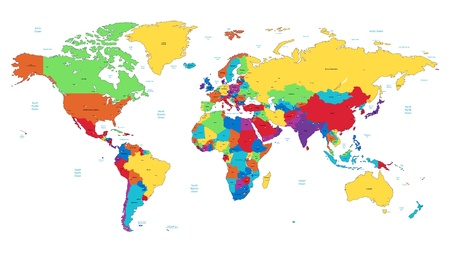 Detailed vector World map of rainbow colors. Names, town marks and national borders are in separate layers. Vector