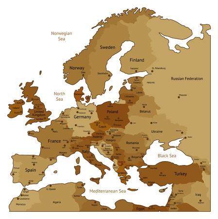 carte europe: Carte de l'Europe de couleurs brun s�pia. Les noms, marques ville et les fronti�res nationales sont en couches s�par�es. Vector illustration.
