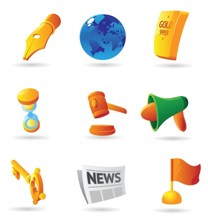 Icons for business symbols and metaphors. Vector illustration. Vector