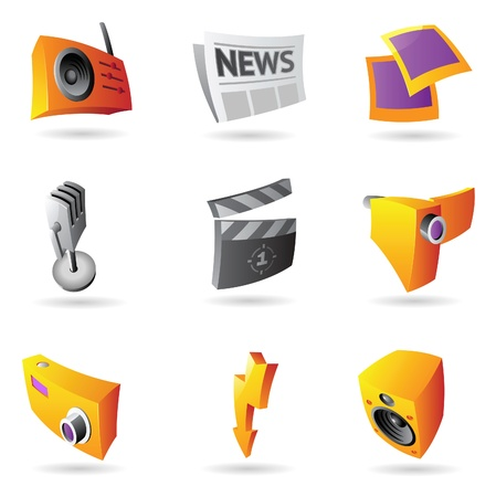 Icons for media and entertainment. Vector illustration. Vector