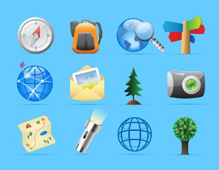 backpacking: Icons for tourism and backpacking. Vector illustration.