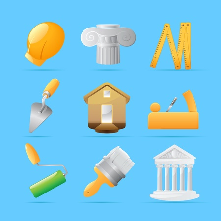 trowel: Icons for construction. Vector illustration.