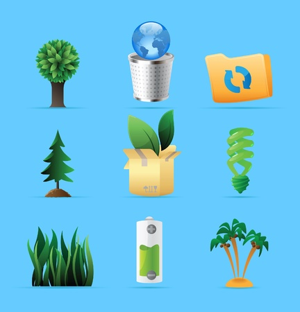silver grass: Icons for nature, energy and ecology. Vector illustration. Illustration