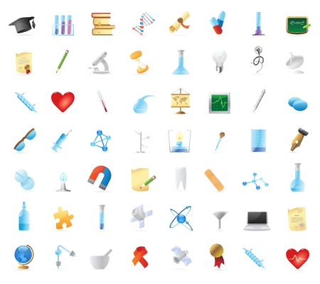science chemistry: 56 detailed vector icons for education, science and healthcare.