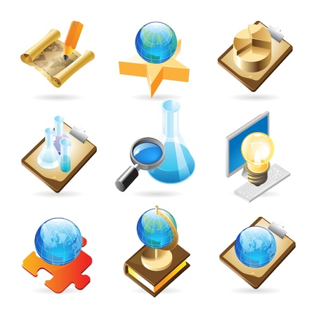 an article: Vector concept icons for science. Illustrations for document, article or website.