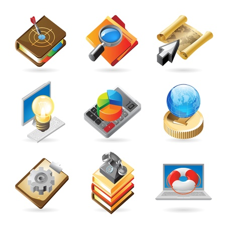 an article: Vector concept icons for business and industry. Illustrations for document, article or website.
