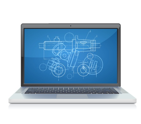 Laptop with engineering blueprint. Vector illustration for design department and heavy industry. Stock Vector - 11106443