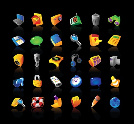Realistic vector icons set for computer and website interface on black background. Vector