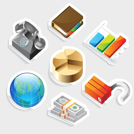 Sticker icon set for business metaphors.  Vector illustration. Stock Vector - 11106435