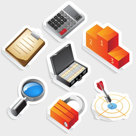 Sticker icon set for business and success.  Vector illustration. Stock Vector - 11106431
