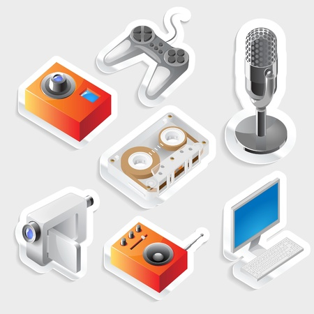 Sticker icon set for entertainment devices.  Vector illustration. Stock Vector - 11106439