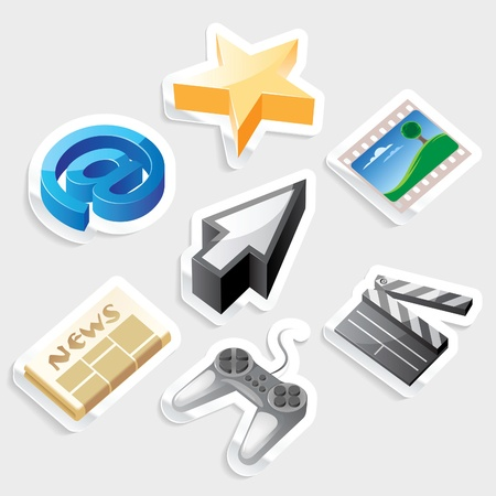Sticker icon set for computer programs and website interface.  Vector illustration. Stock Vector - 11106430