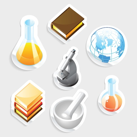 Sticker icon set for education and science.  Vector illustration. Stock Vector - 11106432