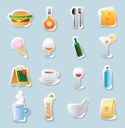 Sticker button set. Icons for food and drinks. Vector illustration. Vector