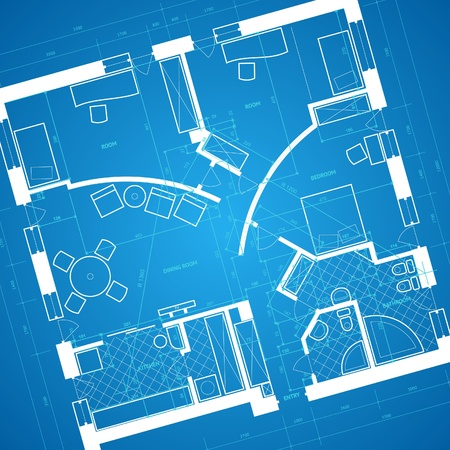 Abstract blueprint background in blue and white colors. Vector illustration. Ilustração