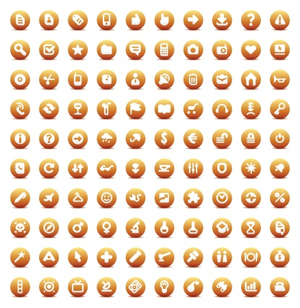 Set of 100 orange vector buttons for web, business, media and computer interface.