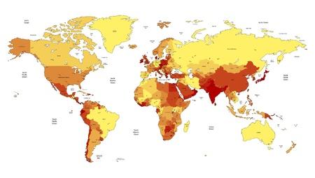 географический: Подробная карта мира вектор желтый, оранжевый, красный цвета. Имена, город знаки и национальные границы являются в отдельных слоях. Иллюстрация