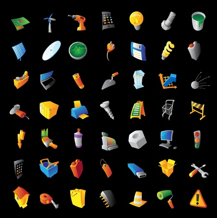 Icons for industry, tools, computers and technology. Black background. Vector illustration. Vector