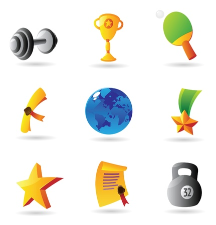 Icons for sport and awards. Vector illustration. Vector