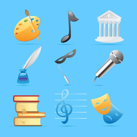 Icons for arts: fine arts, music, architecture, poetry, literature, theatre. Vector illustration. Vector