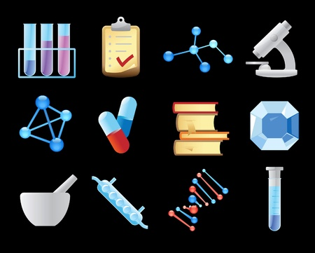 Icons for chemistry. Vector illustration. Stock Vector - 11175173