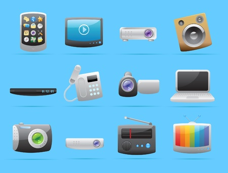 communication devices: Icons for devices. Vector illustration.